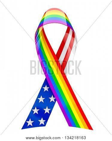USA and rainbow ribbon - 3d rendering