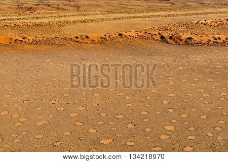 Airwiew of the dunes and sourounding region of the Sossusvlei. Here you find the worlds highes sand dunes. Located in Namib Naukluft Park Namibia Africa.