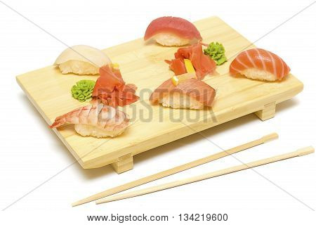 Sushi with Salmon Tuna Fish and Shrimp Isolated - Gourmet Restaurant Food