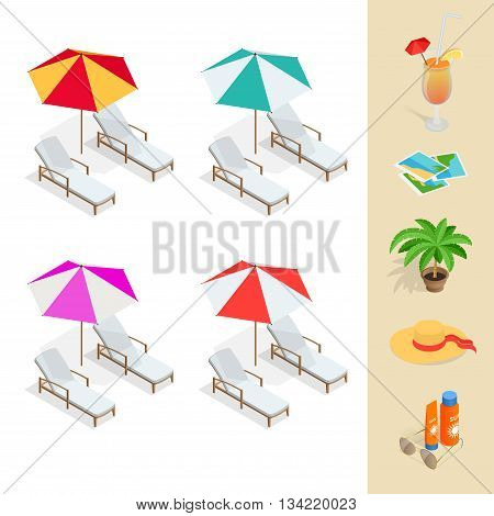 Beach icon set. Orange juice, sun umbrella, palm, sun glasses, photo, photo camera, sun hat, sun cream. Flat 3d vector isometric illustration