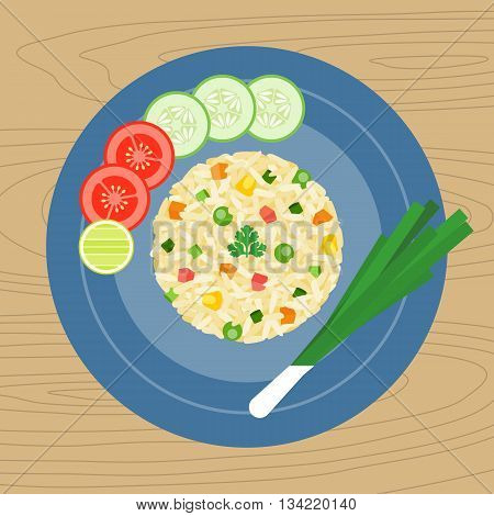 Fried rice  (chinese dish of steamed rice that has been stir-fried in a wok and, usually, mixed with other ingredients), flat design