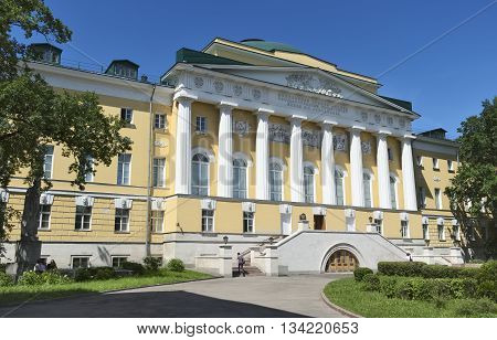 MOSCOW, RUSSIA - MAY 31, 2016: Main building of Moscow State University named after Lomonosov in the city center Mokhovaya Street House 11 Building 1 object of cultural heritage of the Russian Federation