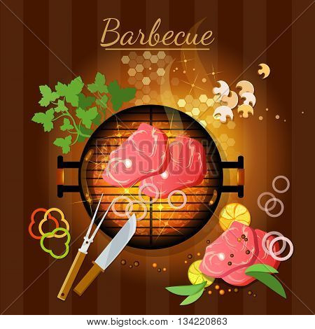 Barbecue top view grilled meat bbq grill party vector illustration