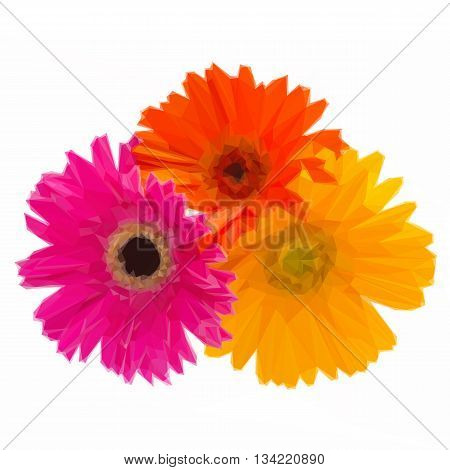 Low poly illustration bouquet of gerbera flowers