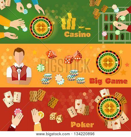 Casino and gambling banner casino games symbols chips croupier vector illustration