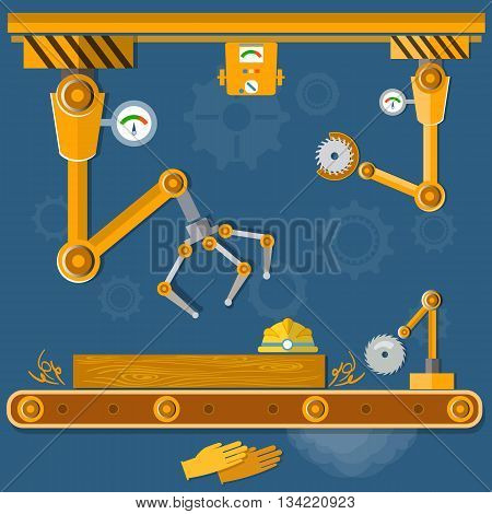 Conveyor system tape assembly at the factory vector illustration