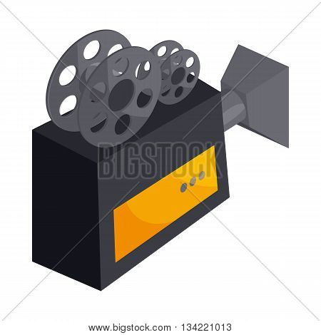 Old movie camera with reel icon in cartoon style on a white background