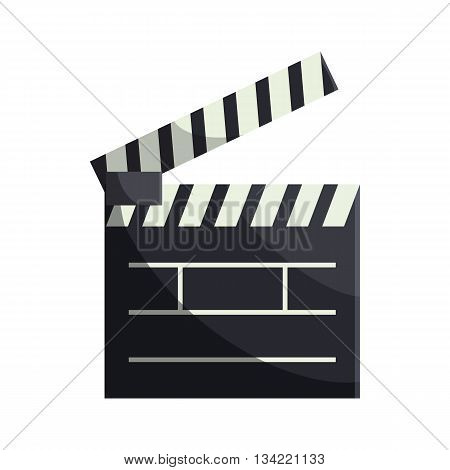 Open clapboard icon in cartoon style on a white background