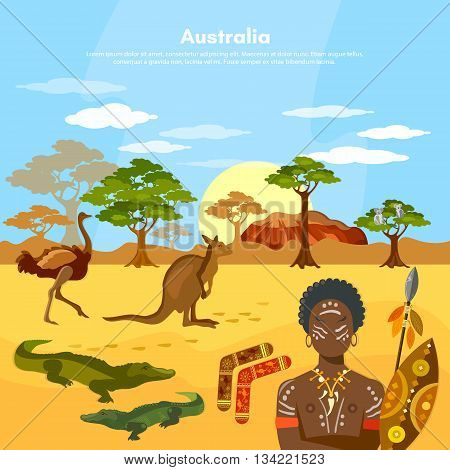 Australia travel to Australia people and animals in Australian aborigines kangaroo ostrich vector illustration
