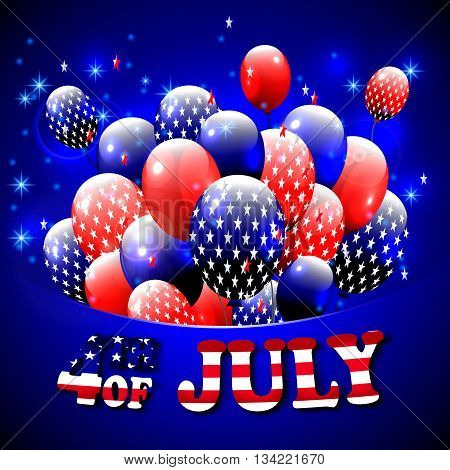 Happy 4th of July design. Blue background, baloons with stars, striped text. American independence day greetings. For invintation, party, bbq. vector.