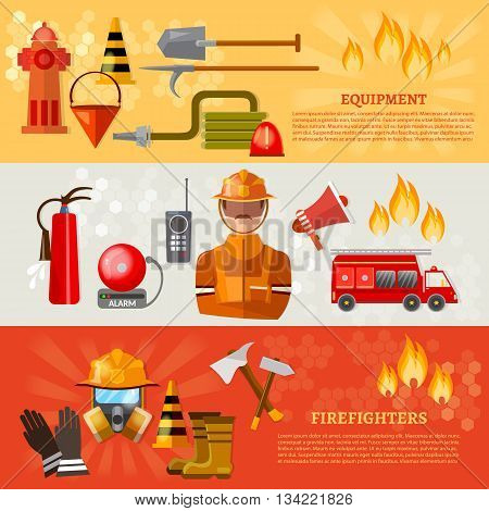 Professional firefighters banner equipment fireman fire safety vector illustration