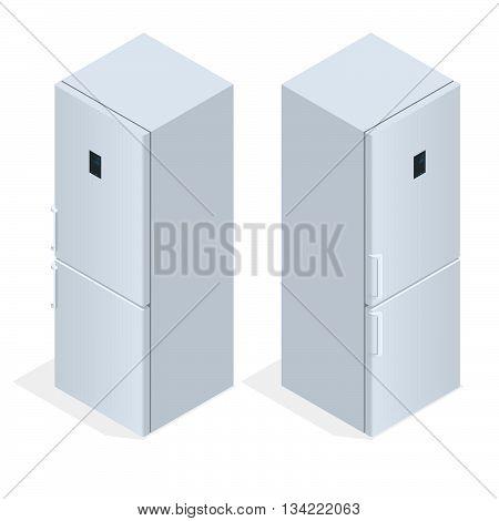 Fridge door with handle. Flat 3d vector isometric illustration.