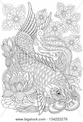 Zentangle stylized cartoon koi carp isolated on white background. Hand drawn sketch for adult antistress coloring page T-shirt emblem logo or tattoo with doodle zentangle floral design elements.