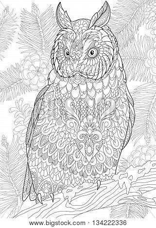 Zentangle stylized cartoon eagle owl sitting on wooden tree branch. Hand drawn sketch for adult antistress coloring page, T-shirt emblem, logo or tattoo with doodle, zentangle, floral design elements.