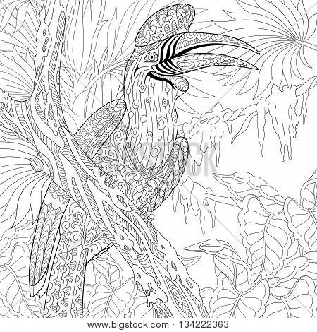 Zentangle stylized cartoon rhinoceros hornbill bird (Buceros rhinoceros). Hand drawn sketch for adult antistress coloring page T-shirt emblem logo tattoo with doodle zentangle floral elements.