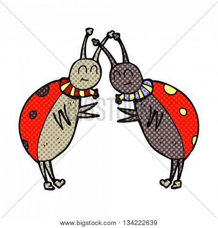 freehand drawn comic book style cartoon ladybugs greeting