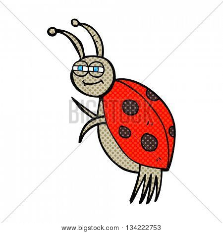freehand drawn comic book style cartoon ladybug