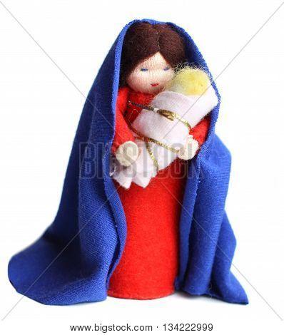 Saint Mary and baby Jesus on white