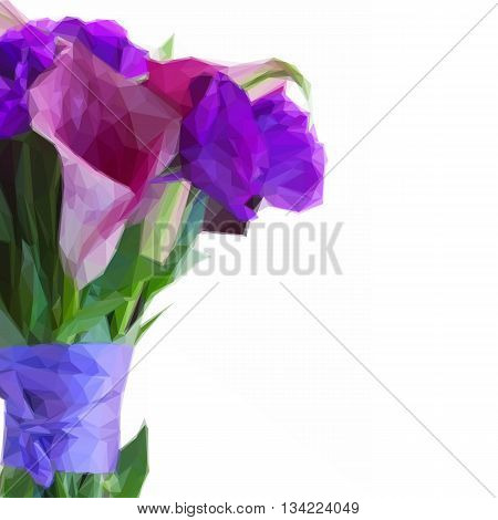 Low poly illustration Calla lilly and eustoma flowers bouquet close up