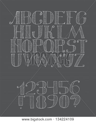 Vector black and white illustration with light english alphabet sequence from a to z and digits from 0 to 9 and punctuation marks. Hand drawn hatched white font with strokes on blackboard background.