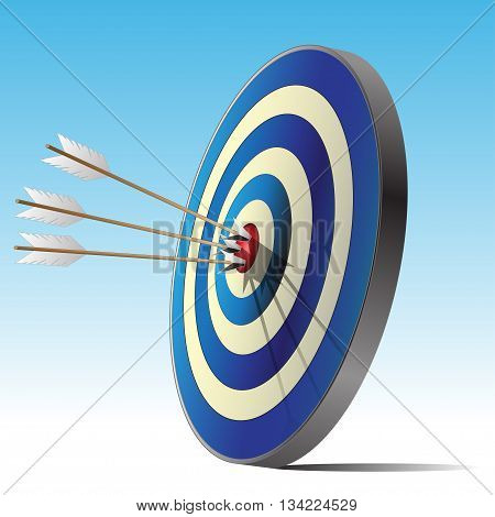 Archery target and tree arrows sport design vector illustration.