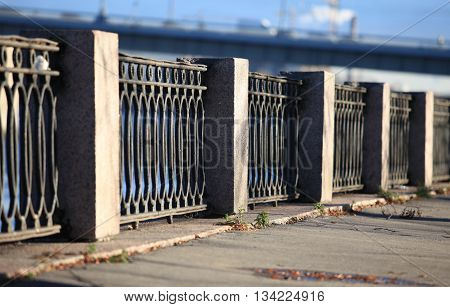 Architecture of St. Petersburg embankment cast-iron fence