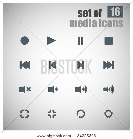 Set Of Media Player Icons | Media Player Buttons | Multimedia | Media Symbols