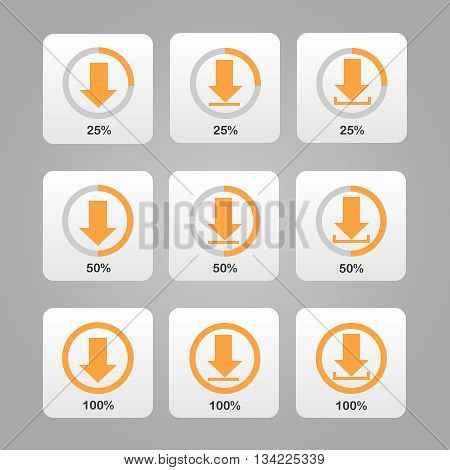 Set of Orange Download Icons with Process Bar | Can be used for website browser interface | Vector