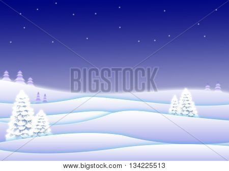 held illustration of a beautiful winter landscape very blue
