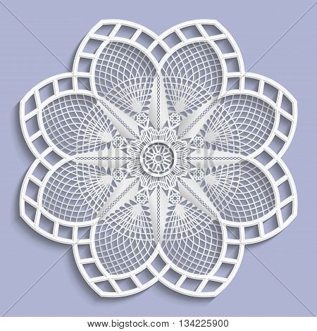 Lace 3D mandala decorative flower lace doily decorative snowflake lace pattern arabic ornament indian ornament embossed pattern vector