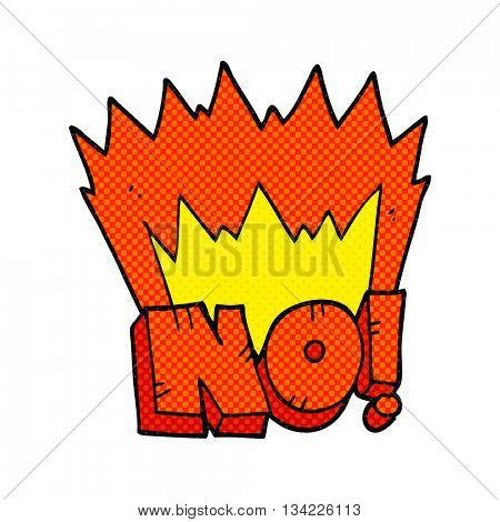 freehand drawn comic book style cartoon NO! shout