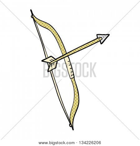 freehand drawn comic book style cartoon bow and arrow