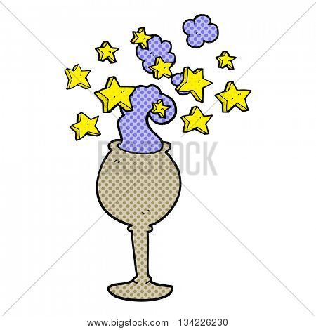 freehand drawn comic book style cartoon magic goblet