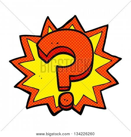 freehand drawn comic book style cartoon question mark
