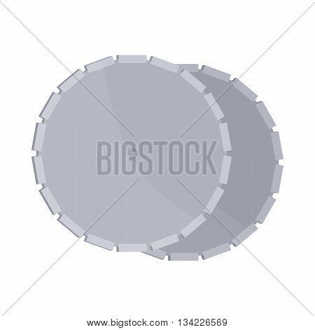 Circular saw blade icon in cartoon style on a white background