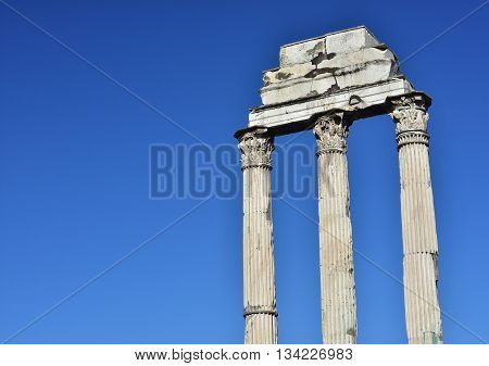 Ruins and columns of the ancient Temple of Castor and Pollux in Roman Forum