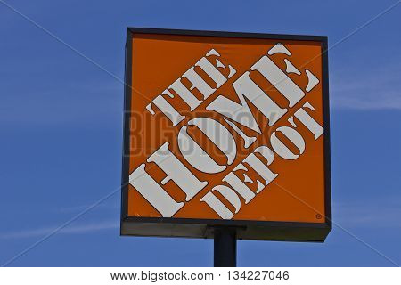 Indianapolis - Circa June 2016: The Home Depot Sign. Home Depot is the Largest Home Improvement Retailer in the US I