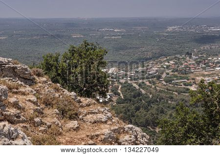 Galilee landscape:  View from the heights of the Galilee mountains towards the hazy coastal plain