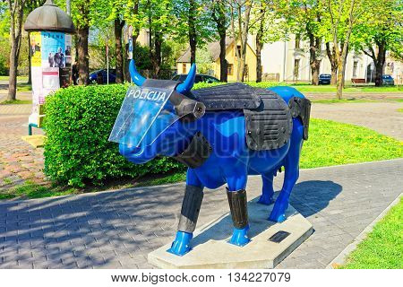 Blue Cow In Ventspils In Latvia