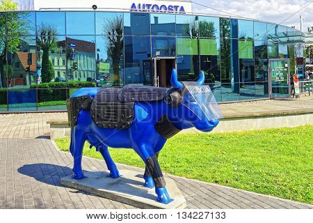 Bus Terminal And Blue Cow In Ventspils In Latvia