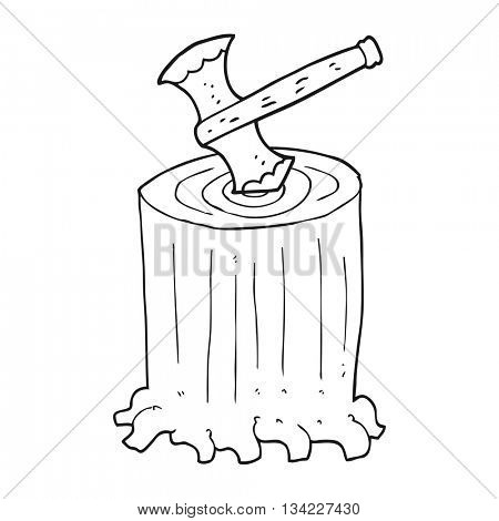 freehand drawn black and white cartoon tree stump and axe