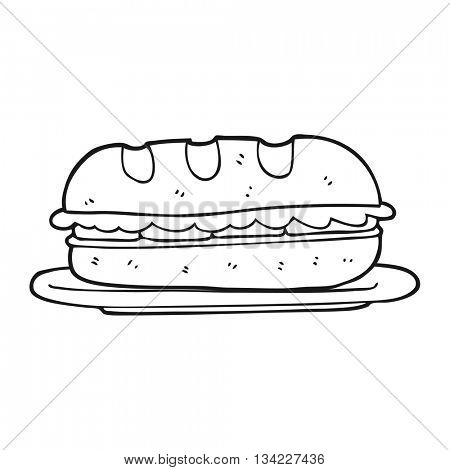 freehand drawn black and white cartoon sub sandwich