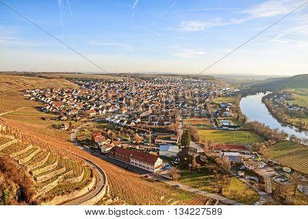 view over town Hessigheim - blue sky