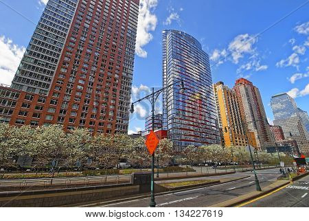 New York, USA - April 25, 2015: Road View on Skyscrapers in Financial District in Lower Manhattan New York City USA