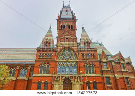 Cambridge, USA - April 29, 2015: Transept of Memorial Hall in Harvard University of Cambridge Massachusetts USA. It was built in honor of men who died during the American Civil War.