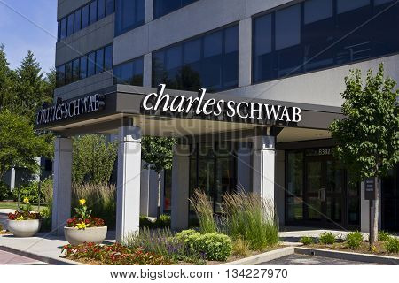 Indianapolis - Circa June 2016: Charles Schwab Consumer Location. The Charles Schwab Corporation Provides Brokerage Banking and Financial Services III