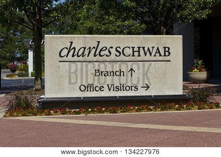 Indianapolis - Circa June 2016: Charles Schwab Consumer Location. The Charles Schwab Corporation Provides Brokerage Banking and Financial Services II
