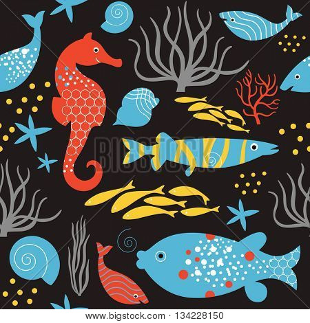 seamless pattern sea life , black background