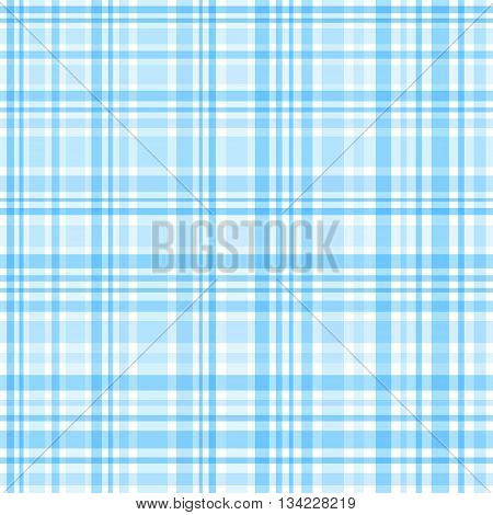 Blue and white gingham seamless pattern. Vector background.