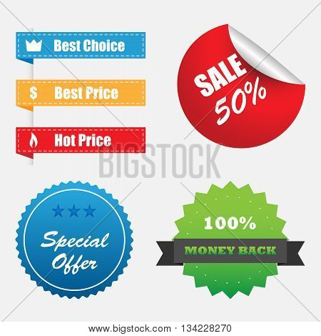 Vector Shopping Stickers Labels Sale Icons Set